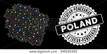 Bright Mesh Kuyavian-pomeranian Voivodeship Map With Glare Effect, And Rubber Print. Wire Frame Poly