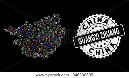 Bright Mesh Guangxi Zhuang Region Map With Glow Effect, And Seal Stamp. Wire Frame Triangular Guangx