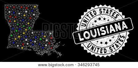 Bright Mesh Louisiana State Map With Lightspot Effect, And Seal Stamp. Wire Frame Polygonal Louisian