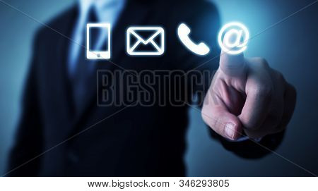 Businessman Touching Icon Mobile Phone, Mail, Telephone And Address. Customer Service Call Center Co