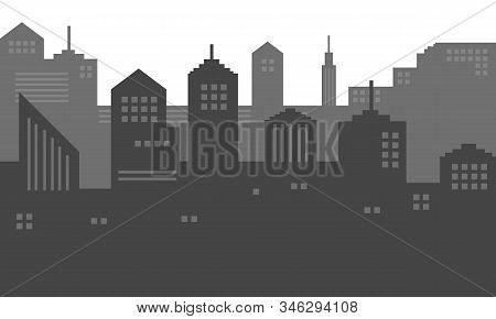 City Town Of Silhoutte In Black And White Shadow