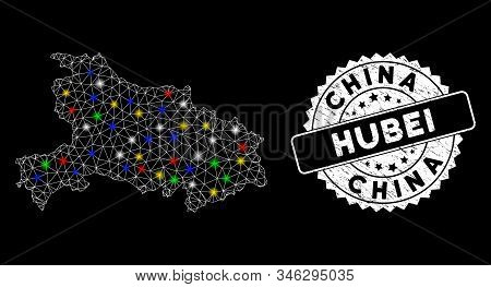Bright Mesh Hubei Province Map With Glare Effect, And Stamp. Wire Carcass Polygonal Hubei Province M