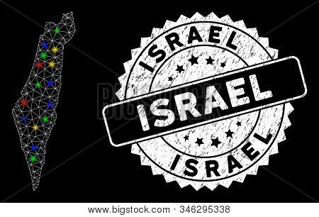 Bright Mesh Israel Map With Glare Effect, And Rubber Print. Wire Frame Triangular Israel Map Mesh In