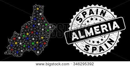 Bright Mesh Almeria Province Map With Glare Effect, And Rubber Print. Wire Frame Polygonal Almeria P