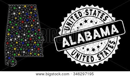 Bright Mesh Alabama State Map With Glare Effect, And Rubber Print. Wire Frame Triangular Alabama Sta