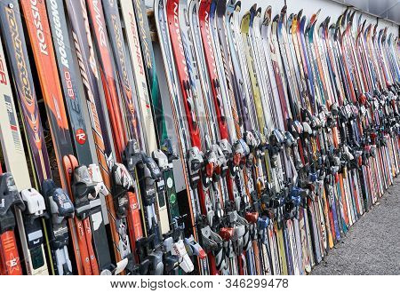 Montreal, Canada - December 23, 2019: Alpine Downhill Skis Of Different Brands Such As Atomic, Rossi