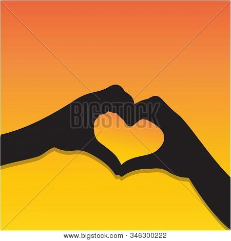 Hands Heart Silhouette, Heart Shape Hand Gesture Isolated On Background