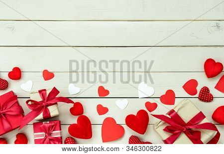Table Top View Aerial Image Of Sign Valentines Day Background Concept.flat Lay Arrangement Colorful
