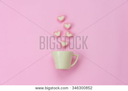 Table Top View Aerial Image Of Sign Valentine's Day Background Concept.flat Lay Arrangement White Co