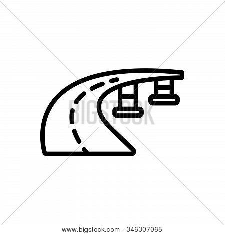 Black Line Icon For Flyover Highway Road Bridge Transportation