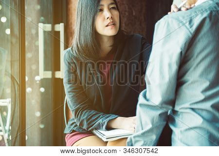 Asian Woman Psychiatrist Talking And Counsel To Patient,mental Health Care Concept