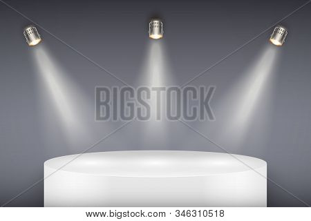 Light Box With White Presentation Circle Podium On Light Backdrop With Three Spotlights. Editable Ba