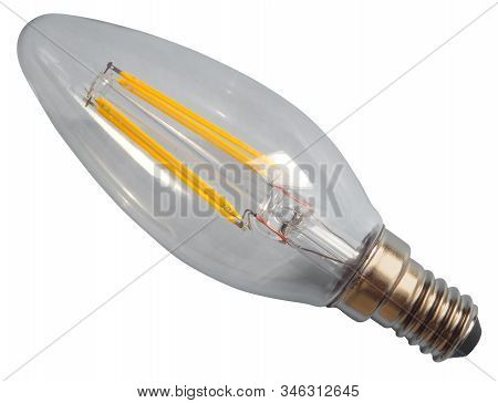 Edison Lamp Isolated On White Background. Clipping Path Included.