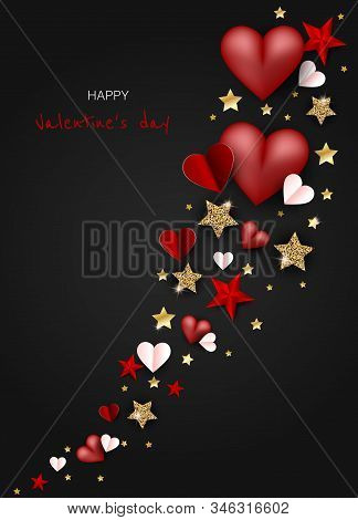Valentine's day holiday, Valentine's Day holiday background, Valentine's day holiday banners, Valentine's Day holiday flyer, Valentine's Day holiday design, Valentine's Day with Heart on black background, Copy space text area, vector illustration.