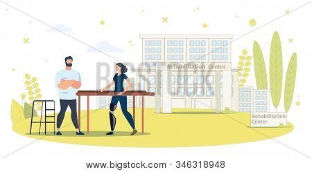 Rehabilitation Center For People With Disabilities Trendy Flat Vector Concept. Disabled Woman With L