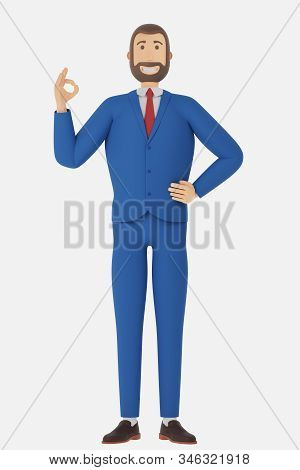 Cartoon Character, Businessman In Suit Shows Okay Or Ok Gesture. Concept With Okay Or Ok Gesture. 3d