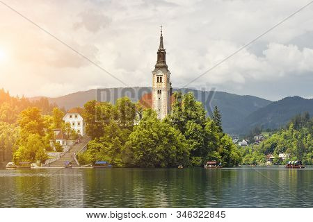 Bled, Slovenia - May 20, 2018: Beautiful Lake Bled In Julian Alps And Assumption Of Mary Church In T