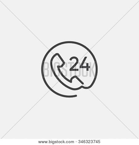 Call 24 Icon Vector Illustration, 24 Hour Call Service, Twenty Four Hour Service Linear Flat Design,