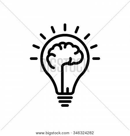 Black Line Icon For Mindset Mentality Motivation Creativity Mind