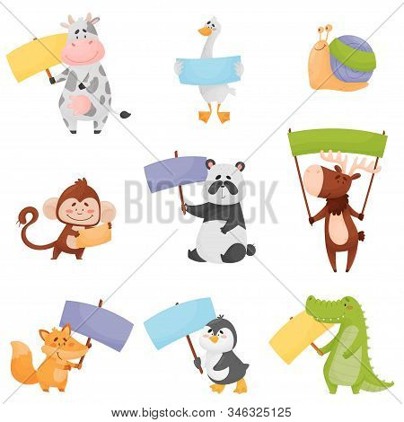 Cute Cartoon Animals Holding Colorful Blank Banners Vector Illustrations Set