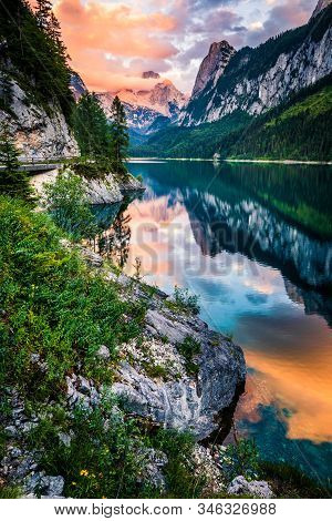 Gosausee Lake In Sunset, Dachstein With Clouds Behind, Austria