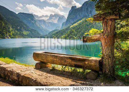 Drinking Basin By Gosausee Lake, Dachstein Mountain Range Behind, Austria