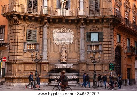 Palermo, Italy - December, 19: The Famous Quattro Canti Square. Baroque Facade At The North-east Cor