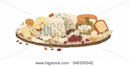 Composition Of Various Cheeses On Plate Vector Illustration. Collection Of Lactic Product On Rustic