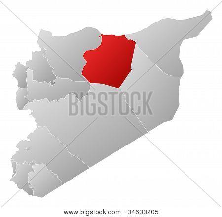 Karta över Syrien, Ar-raqqah markerade