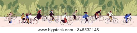People Ride Bicycling At Bicycle Parade Vector Flat Illustration. Active Cartoon Person Cycling On B