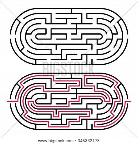 Abstract Maze / Labyrinth With Entry And Exit. Vector Labyrinth 282.