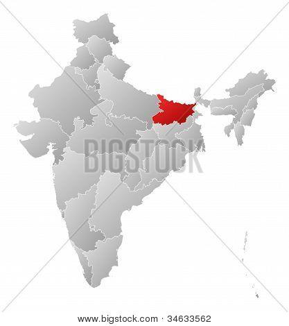 Karta över Indien, Bihar belyst