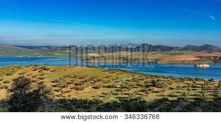 Beautiful View Of The Lake Embalse Del Guadalhorce, Ardales Reservoir In Province Malaga, Andalusia,