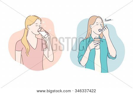 Healthy Food, Dieting Concept. Girl Drinking Glass Of Milk, Young Woman Eating Tasty, Yummy, Delicio