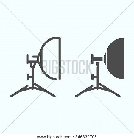 Floodlight Line And Solid Icon. Lamp To Power Light For Photography Vector Illustration Isolated On