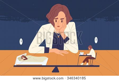 Tired Business Woman Choice Between Health And Side Job Vector Illustration. Female Cartoon Office W