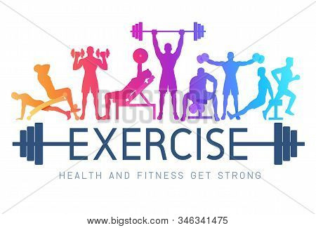Exercises Conceptual Design. Young People Doing Silhouette Workout. Sport Fitness Banner Promotion V