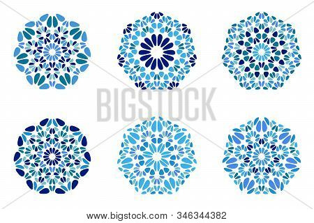 Isolated Ornate Floral Heptagon Symbol Template Set - Abstract Colorful Ornamental Vector Graphic El