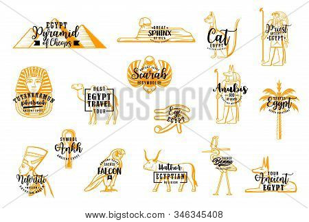 Egyptian Vector Travel Icons. Pyramid Of Cheops, Sphinx Giza, Egyptian Cat, Priest. Tutankhamun And
