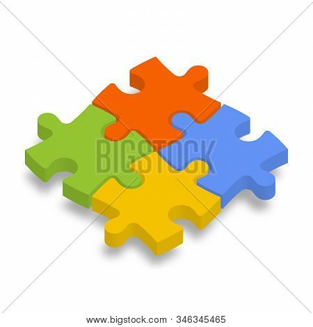 4 Colorful Jigsaw Puzzle Pieces. Team Cooperation, Teamwork Or Solution Business Theme. 3d Vector Il