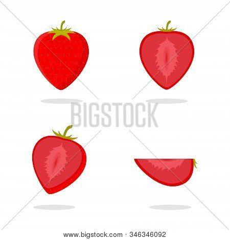 Strawberry Vector. Strawberry Set. Slice Of Strawberry Vector. Strawberry Illustration. Strawberry I
