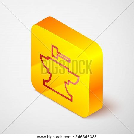 Isometric Line Anvil For Blacksmithing And Hammer Icon Isolated On Grey Background. Metal Forging. F