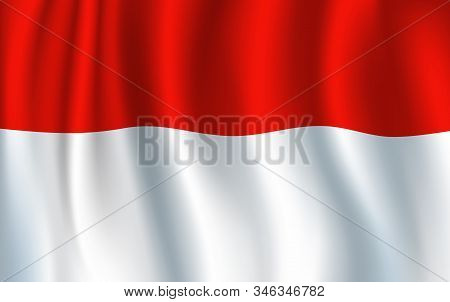 Flag Of Indonesia, Two Equal Horizontal Bands Of Red And White. Vector Waving Banner, National Flag.