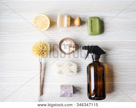 Flat Lay Zero Waste Home Cleaning Concept. Various Items And Ingredients For Eco Home Cleaning. Top