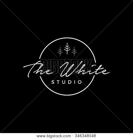 The White Studio Logo Template,circle Studio Photography Logo Sign Can Use For Your Trademark, Brand