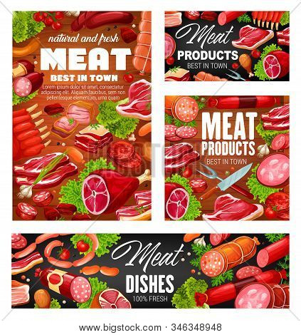 Meat Products, Vector Pork And Beef, Sausages, Mutton And Veal, Bacon And Ham, Ribs And Barbeque Ste