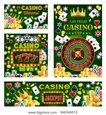 Casino, Gambling And Poker Games. Vector Fortune Wheel, Lucky Sevens Combination, Royal Crown, Gambl