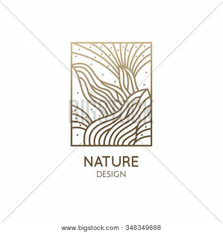 Cactus Logo Template. Vector Emblem Of Blossoming Succulent Or Subtropical Plant In Linear Style. Ga
