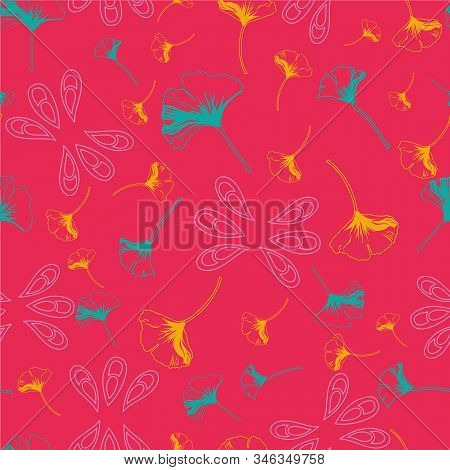 Vector Seamless Pattern Ginko Wax With Yellow And Turquoise Ginkgo Leaves And Pink Arabesques