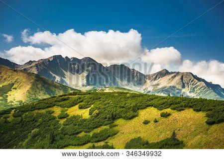 Salatin Mountain Range And Brestowa Peak In Slovakian Tatra Mountains - View From Rakon In Poland -